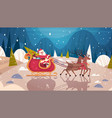 santa riding sledge with reindeers in forest vector image
