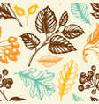 seamless pattern with berries and falling leaves vector image