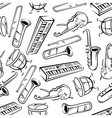 Seamless sketchy musical instruments pattern vector image vector image