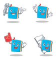 set of blue book character with mechanic foam vector image vector image