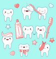 set of cute teeth icons in kawaii style vector image vector image