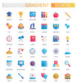 set of trendy flat gradient school vector image