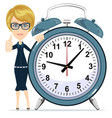 smiling cartoon businesswoman with alarm clocks vector image vector image