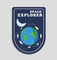 space explorer orbits around earth moon background vector image vector image
