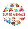 superhero animals round shape cute baby vector image