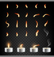 tea candle and flame set isolated vector image