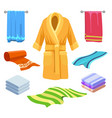 towel and bathrobe sketch vector image vector image