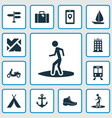 traveling icons set with sail map app train and vector image