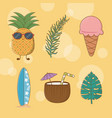 tropical and summer set icons vector image