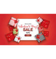 valentines day sale promo with gift box vector image vector image