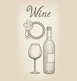 wine set wine glass bottle lettering cafe menu vector image vector image