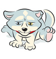 Sad husky puppy character sitting alone vector image