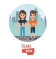 young teamwork cartoon vector image
