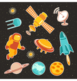 Space ship icons with planets rocket and astronaut vector image