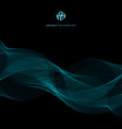 abstract blue lines wave template on black vector image