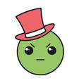 angry emoticon with hat kawaii character icon vector image