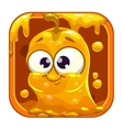 App icon with funny cute yellow slimy monster vector image vector image