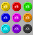 Bicycle icon sign symbol on nine round colourful vector image vector image