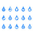 blue eco drop icons set vector image vector image