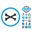 Bones Cross Flat Icon with Bonus vector image