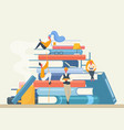 book library banner with people characters vector image vector image