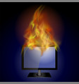 burning screen monitor with fire flame vector image vector image