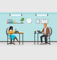 business people work busy office workers sitting vector image vector image
