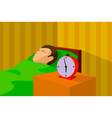 cartoon image of a man sleeping in bed vector image vector image