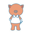 cartoon pig animal icon over white vector image