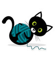 cat is playing with wool ball vector image vector image
