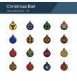 christmas ball icons filled outline design for vector image vector image