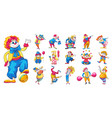 clown icons set cartoon style vector image vector image