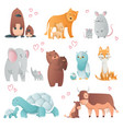 collection animals mom and baby cartoons cute vector image
