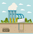 coloful background geothermal energy production vector image vector image