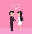 cute bride with groom wedding vector image