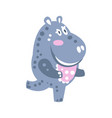 cute cartoon hippo character running vector image vector image