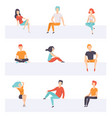 diverse people sitting on different positions set vector image vector image