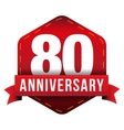 Eighty year anniversary badge with red ribbon vector image