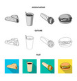 fast meal eating and other web icon in flat vector image vector image