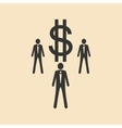 Flat in black white People and dollar vector image vector image
