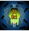 Greeting card for Halloween with bat vector image vector image