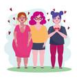 group women diverse cartoon character self love vector image vector image