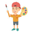happy boy drawing with colorful paints and brush vector image vector image