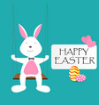 happy easter day greeting text with rabbit eggs vector image vector image