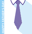 happy fathers day card on tie and white shirt vector image vector image