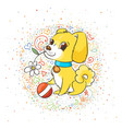 happy golden cartoon puppy cute little dog vector image vector image