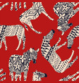 horse zebra abstract coloring red background vector image vector image