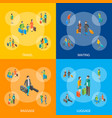 isometric travel people characters banner set vector image vector image