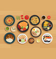 japanese food on top view wooden background vector image vector image