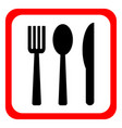 knife fork and spoon on a white background vector image